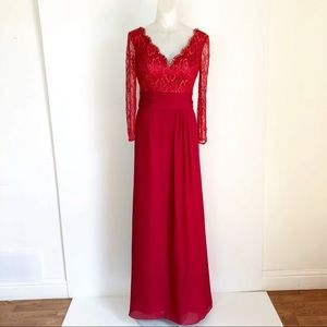 Carlyna Off Shoulder Beaded lace/Chiffon red Gown